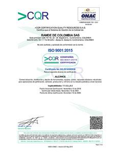 Original ISO 9001 2015 RAMDE DE COLOMBIA SAS