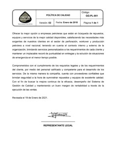 GG-PL-001-VS 02 POLITICA DE CALIDAD Publicada